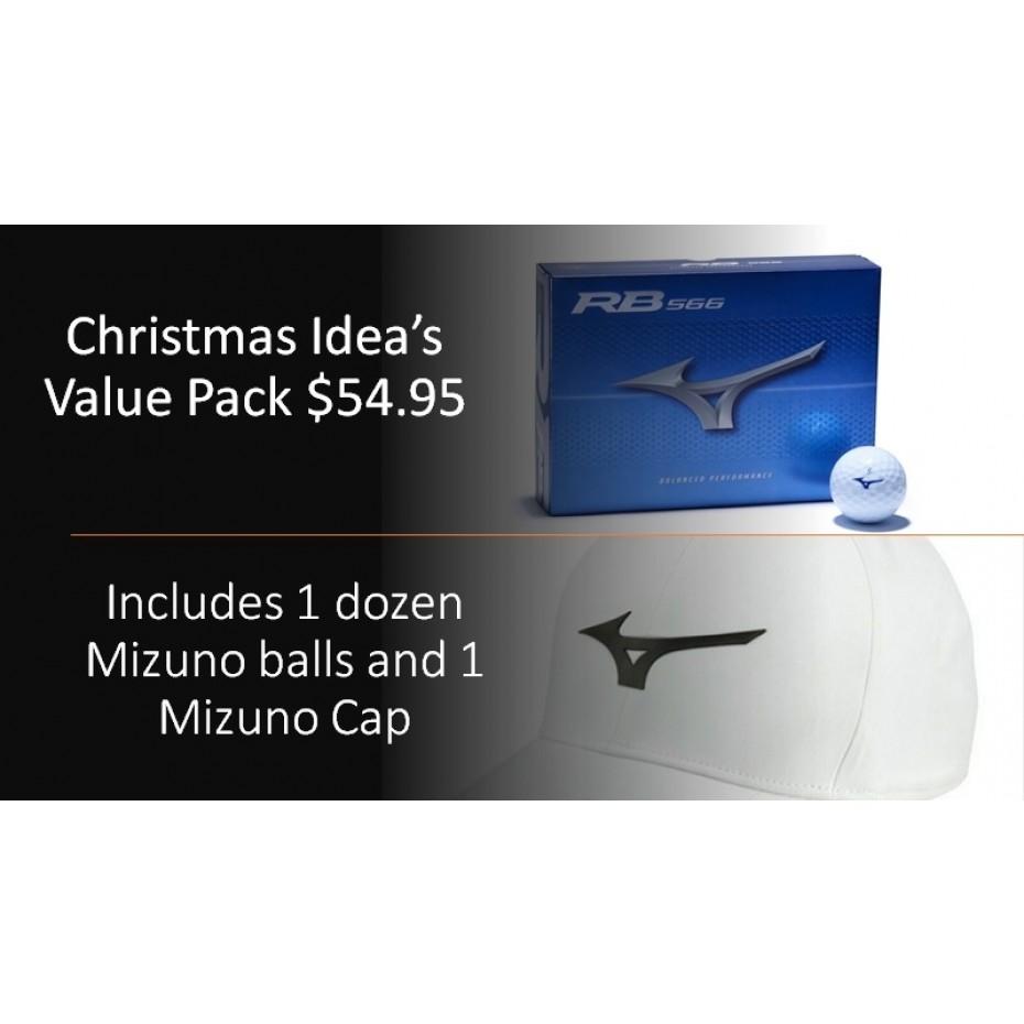 Mizuno Christmas Pack Mizuno RB 566 Balls White and Cap