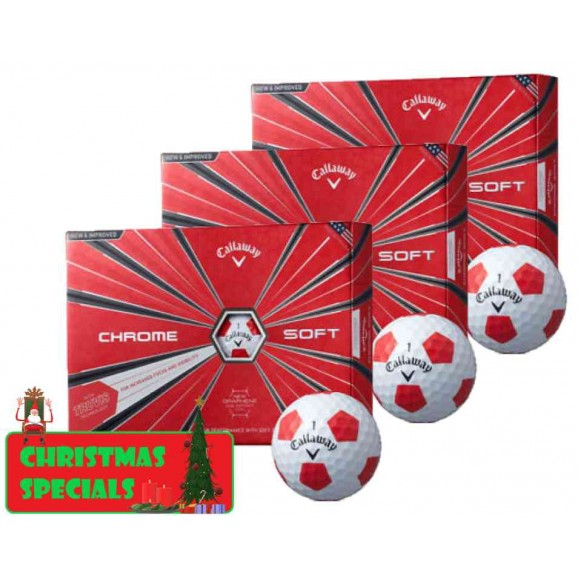 Callaway Chrome Soft 2018 Truvis White Red Golf Balls - 3 Dozen