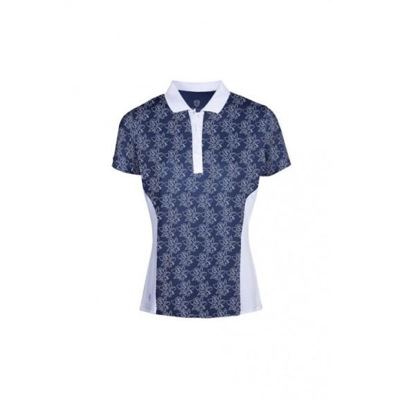 Island Green Ladies Short Sleeve Polo Freesia Print IGLTS2052NF Navy Blue White
