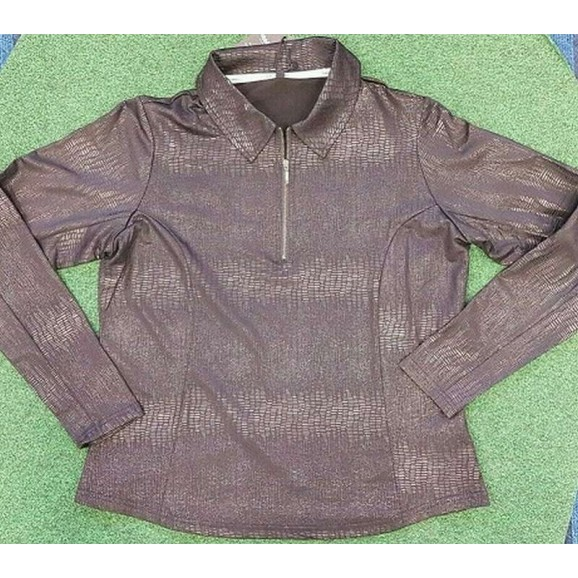 Robbie Brown Ladies Long Sleeved Polo Quarter Zip Simply Black